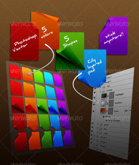 vibrant sticky notes - Miscellaneous Web Elements