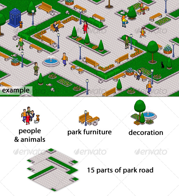 GraphicRiver Pixel art park set 128694