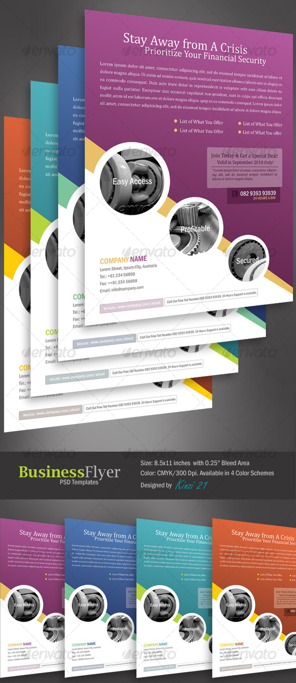 Business Flyer Template With 4 Color Schemes - Corporate Flyers
