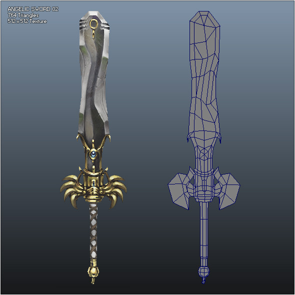 Low Poly Crusader Angelic Sword 02 - 3DOcean Item for Sale