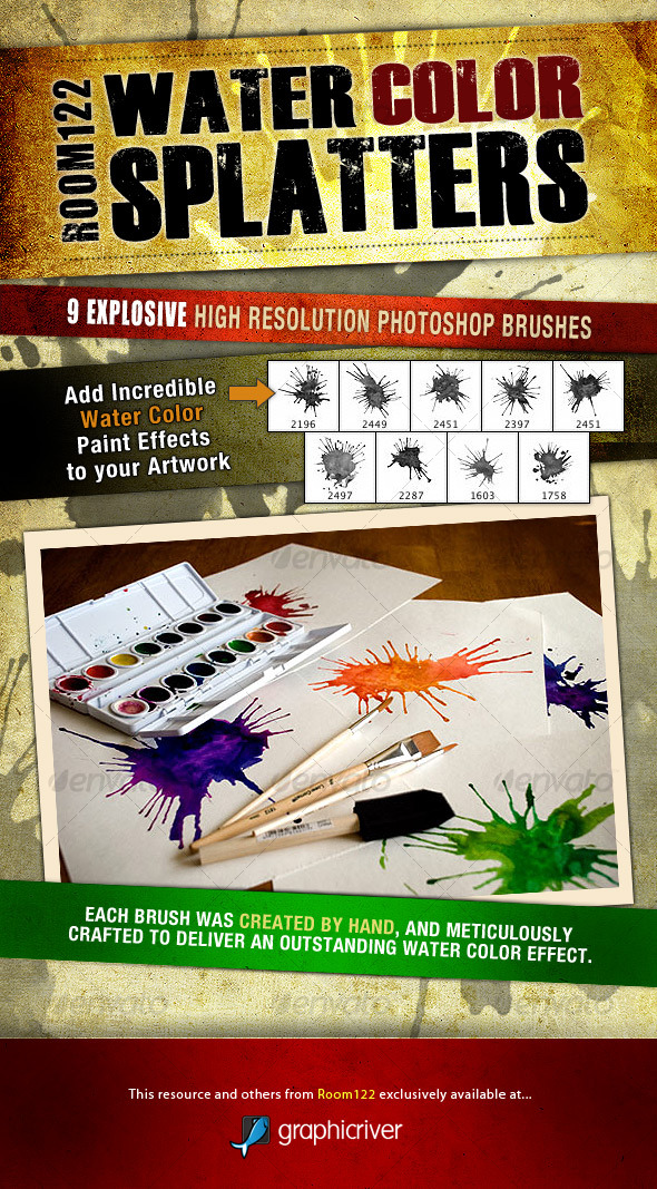 Water Color Splatters - Photoshop Brush Set - Artistic Brushes