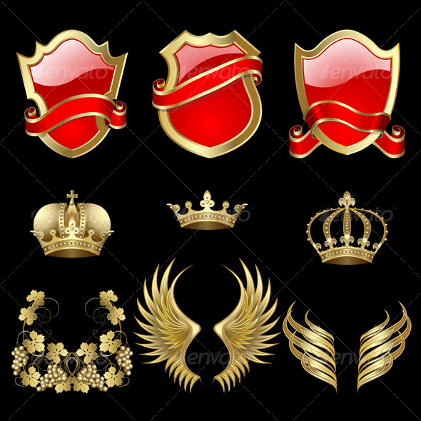 GraphicRiver Set of heraldic elements 129375
