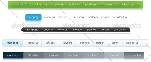 GraphicRiver 5 Different Colors Corporate Web 2.0 Menus 42906