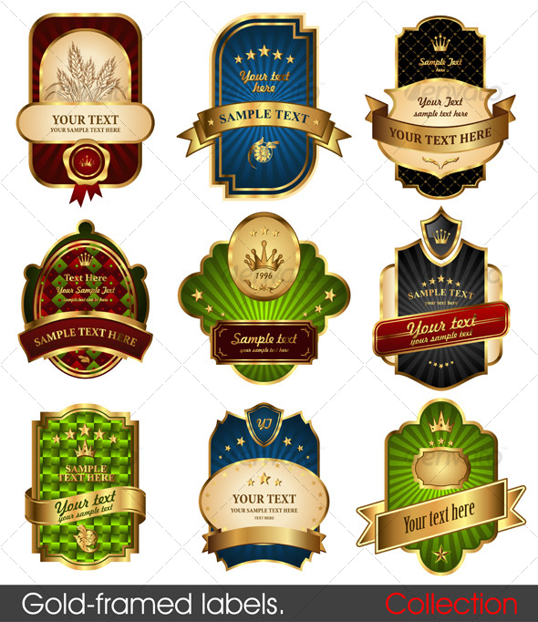GraphicRiver Set of gold-framed labels 129751