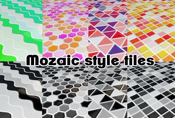 3DOcean Mosaic style tiles Kitchen flooring 8 pack C4D 1035559