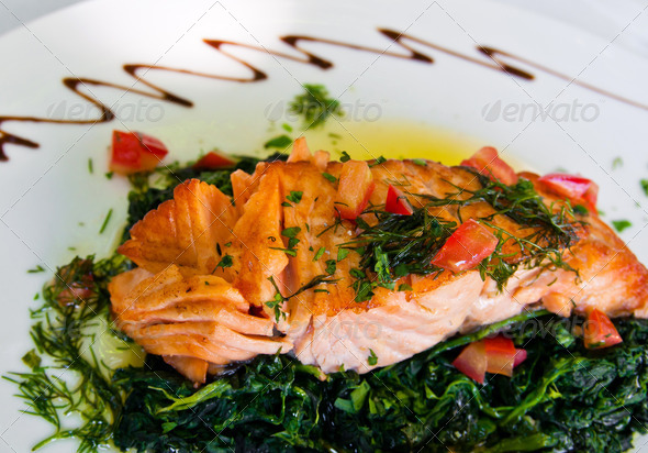 salmon and lemon - Stock Photo - Images