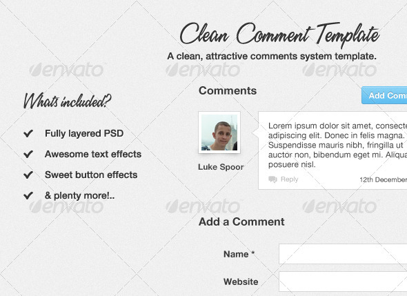 Graphic River Clean Comment Template Web Elements -  Forms 1039501