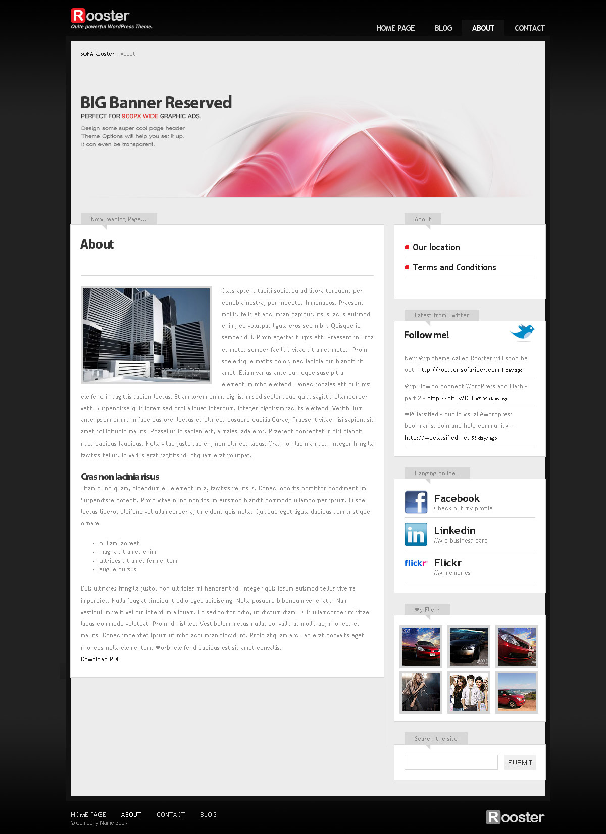 Sofa Rooster, WordPress theme - Page template layout.