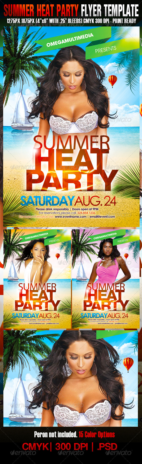 Graphic River Summer Heat Party Print Templates -  Flyers  Events  Clubs & Parties 1047795