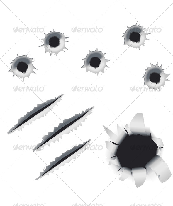 GraphicRiver Bullet Holes and Slashes Vector Design Elements 130989