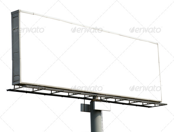 Blank billboard isolated on white - Stock Photo - Images