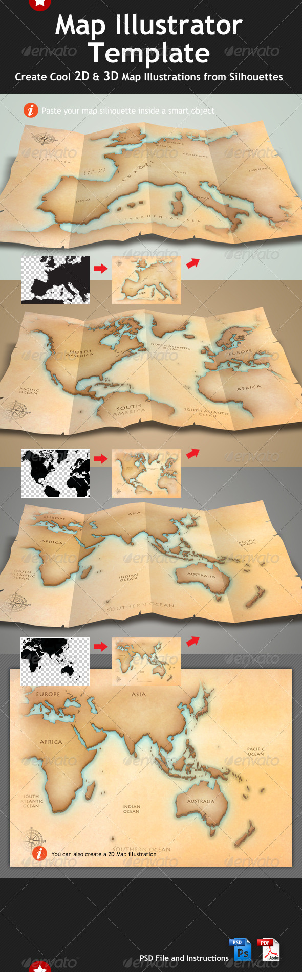 Map Illustrator &amp; Mock Up Template - Miscellaneous Print
