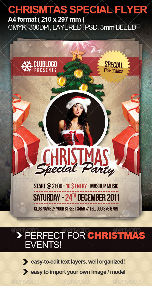 christmas special party flyer graphicriver. Black Bedroom Furniture Sets. Home Design Ideas