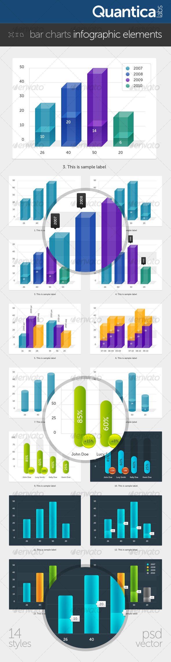 Bar Charts Infographic Elements - Infographics