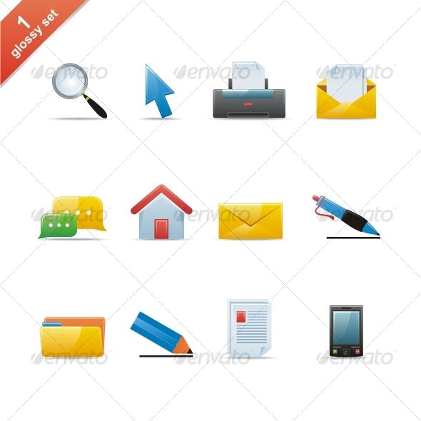 GraphicRiver Glossy icon set 43458