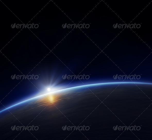 PhotoDune Planet earth with rising sun 1051889