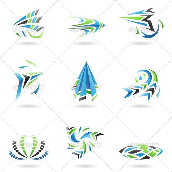 Flying Dynamic Abstract Icons - Abstract Icons