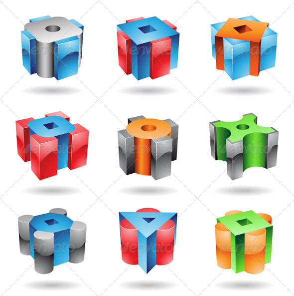 Glossy Cubic Shapes - Abstract Icons
