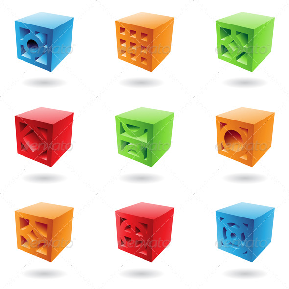 Abstract Brick Cubes - Abstract Icons