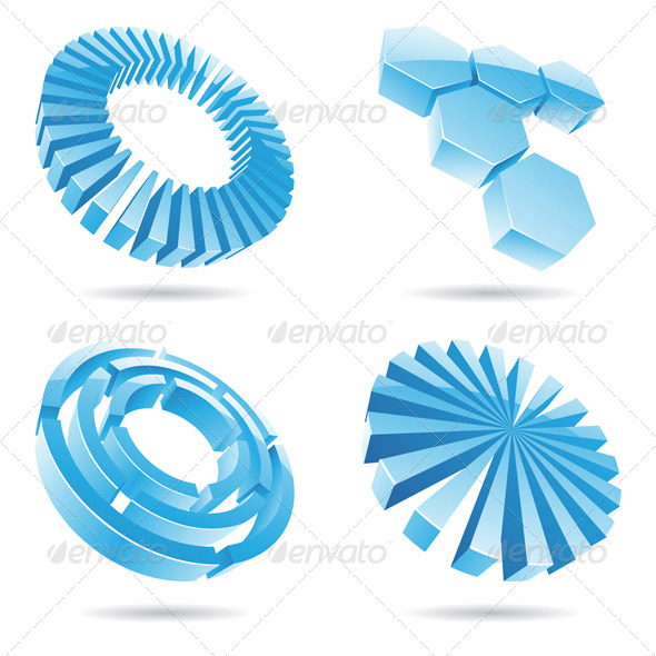 3d Ice Blue - Abstract Icons