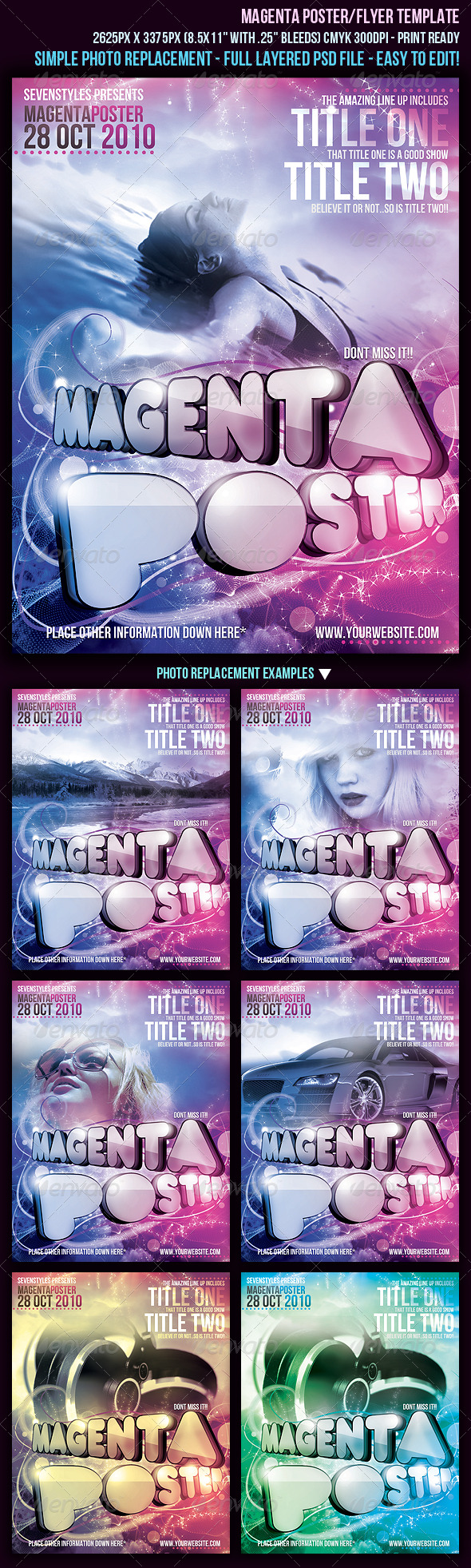 Magenta Poster/Flyer Template - Clubs &amp; Parties Events