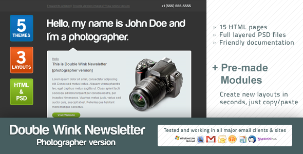 Double Wink Newsletter (Photographer Version) - Newsletters Email Templates