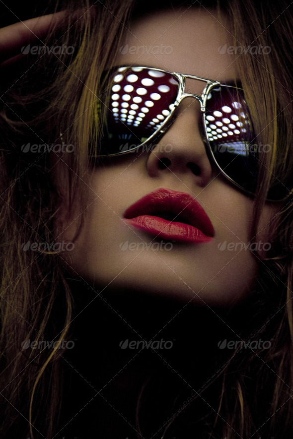 fashionable woman in shades - Stock Photo - Images