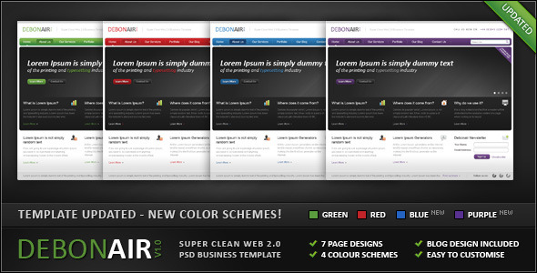 Debonair - Super Clean Web 2.0 Business Template - Corporate PSD Templates