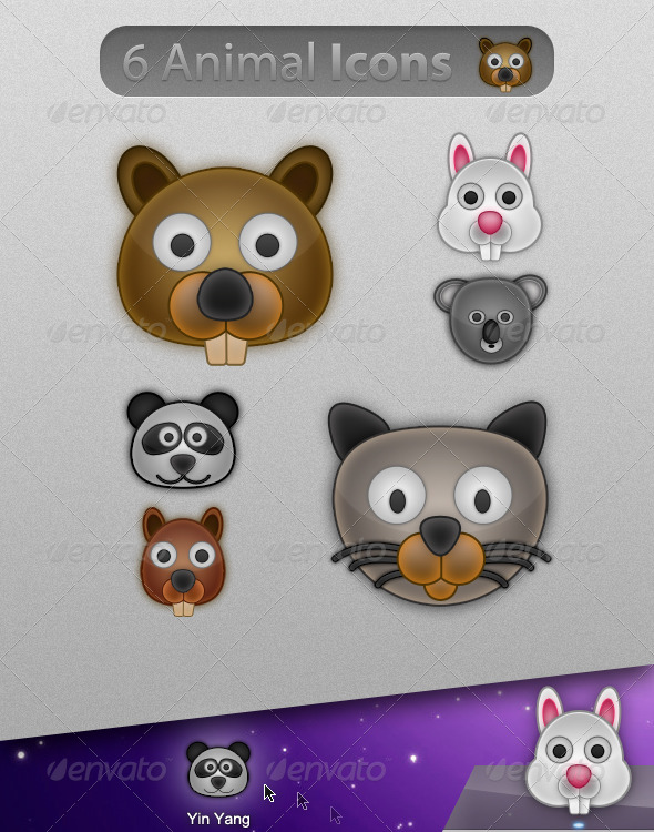 6 Cute & Glossy Animal Icons - Animals Characters