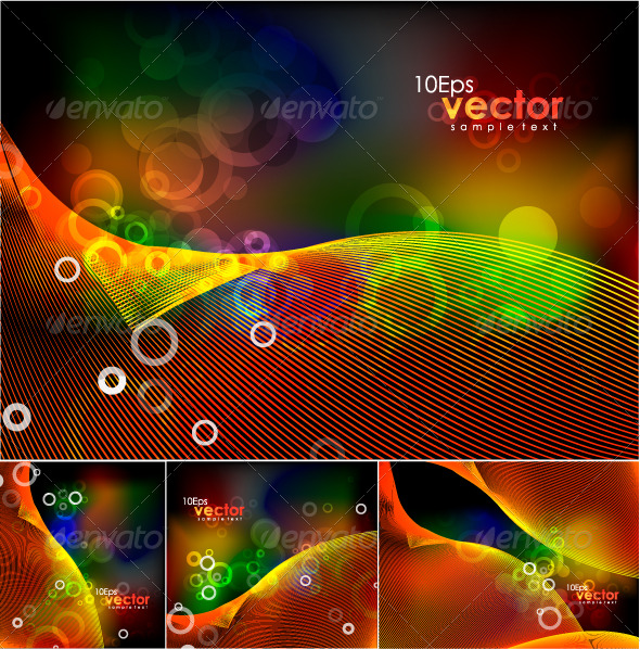 Abstract lights and waves. Vector background pack - Abstract Conceptual