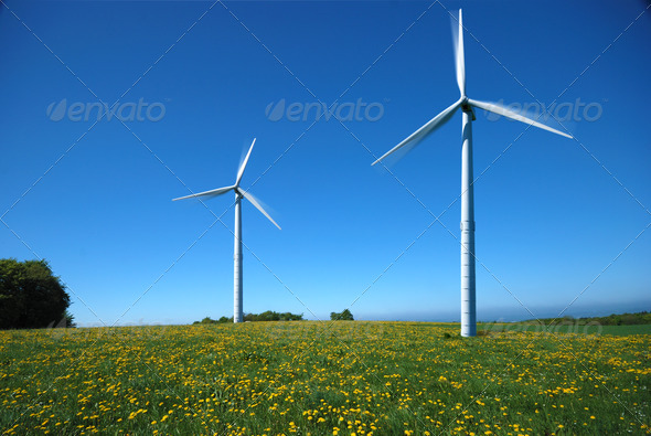 Two electricity windmills - Stock Photo - Images