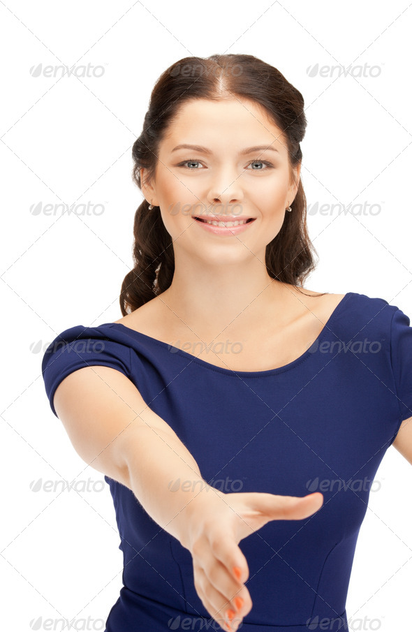 woman with an open hand ready for handshake - Stock Photo - Images