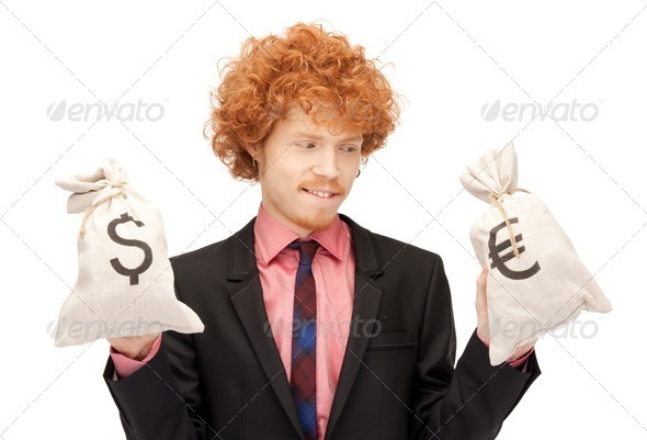 man with euro and dollar bags - Stock Photo - Images