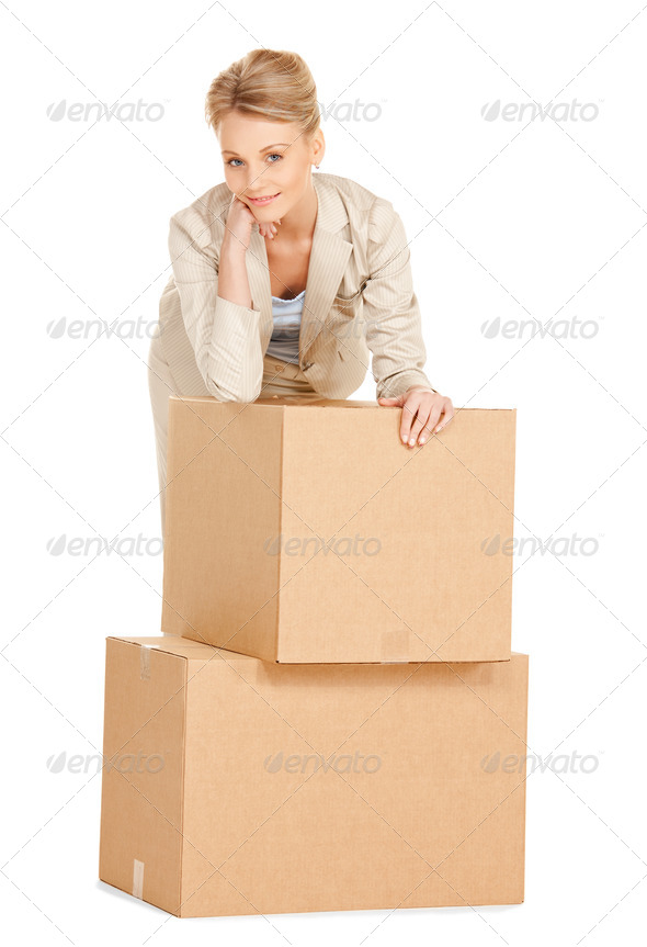 attractive businesswoman with big boxes - Stock Photo - Images
