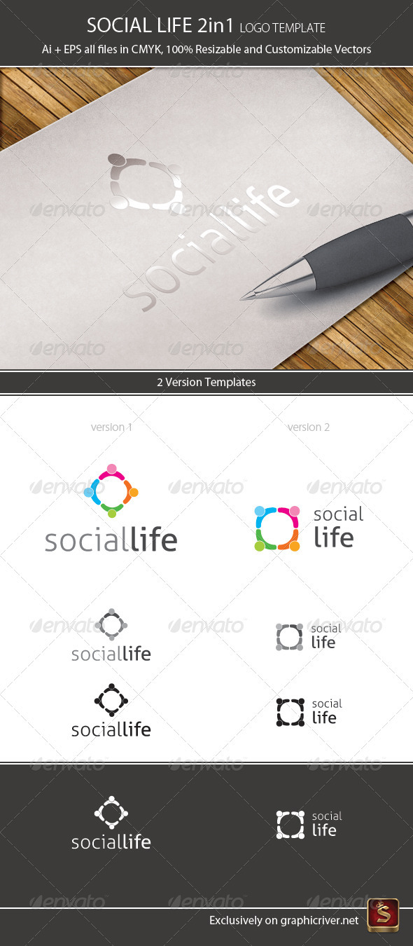 Social Life Logo Template 2in1 - Humans Logo Templates