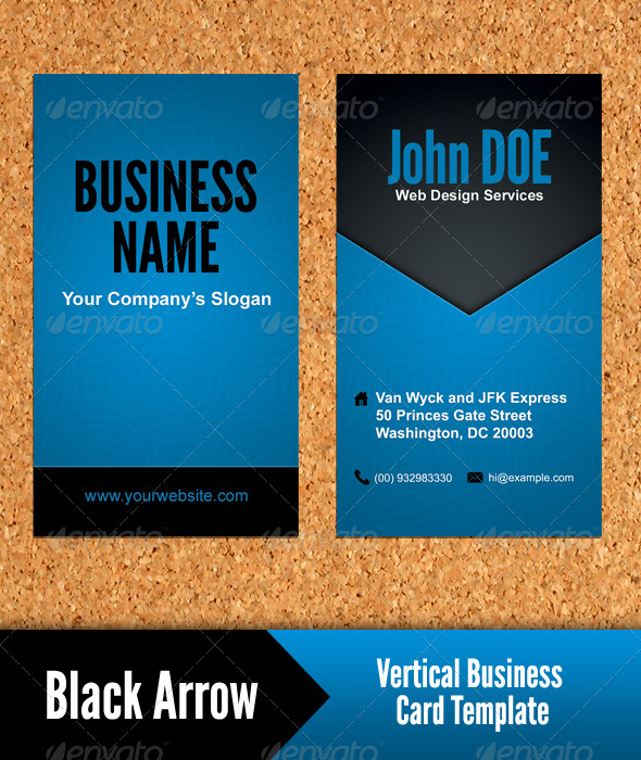GraphicRiver Black Arrow Vertical Business Card Template 131827