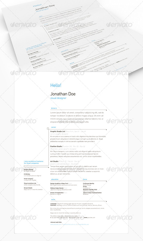 Get Minimal - Resume 03 - Resumes Stationery