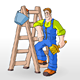 Painter Painting With Ladder - GraphicRiver Item for Sale