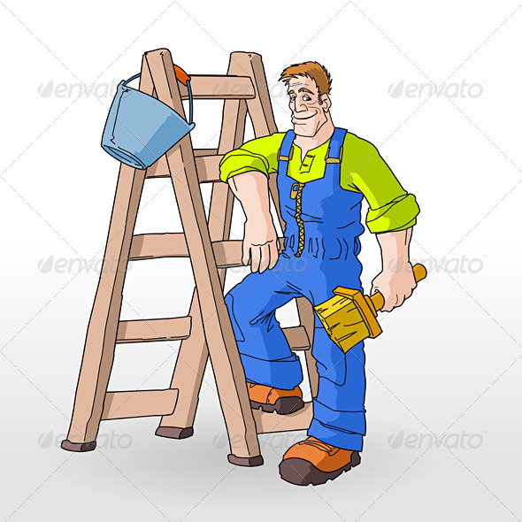 Painter On Ladder Clip Art