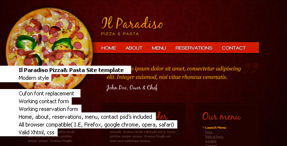 Il Paradiso, Pizza & Pasta Restaurant HTML+CSS - Food Retail