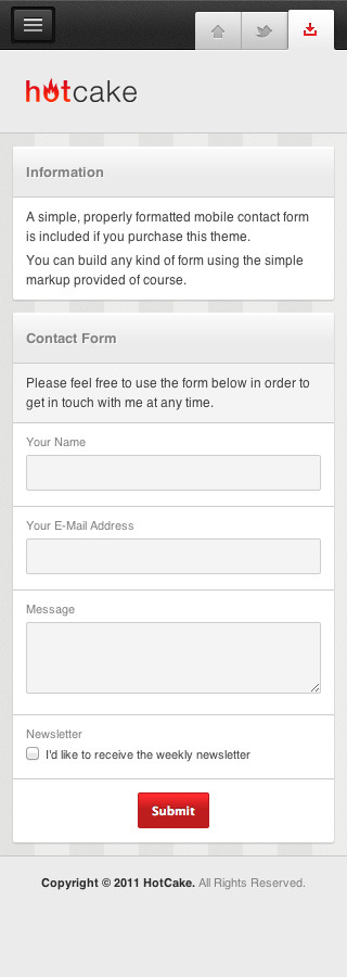 HotCake — Mobile Business HTML Template - Basic contact form using prepared form elements of this template. You can easily build any other kind of form as well.