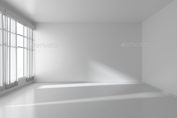 white empty room with flat walls white floor and window 3d ill stock photo by alexeysmirnov. Black Bedroom Furniture Sets. Home Design Ideas