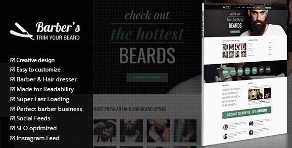 Barber - WordPress Theme for Barbers & Hair Salons by gljivec ...