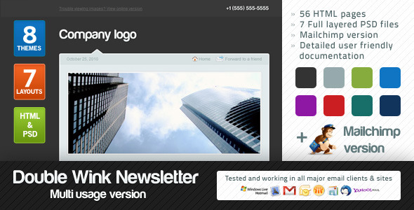 Double Wink Newsletter Multi-usage Version - Newsletters Email Templates