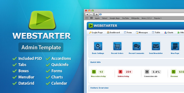 WebStarter Admin Template - Admin Templates Site Templates