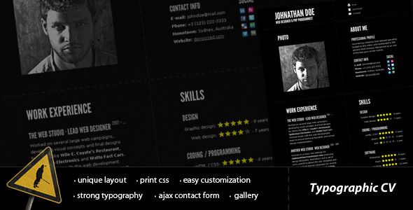 Typographic CV - impressive resume template - Resume / CV Specialty Pages