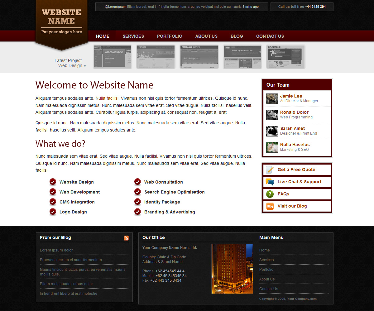 Red & Black Company Portfolio Layout - Red & Black Company Portfolio Layout - Homepage