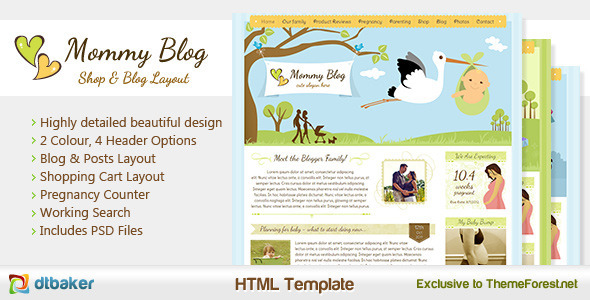 ThemeForest Mommy Blog HTML Including Shop & Blog Layout 992976