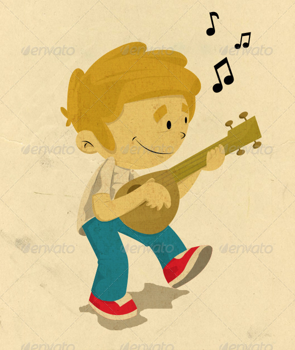 Playing Guitar - Illustrations Graphics