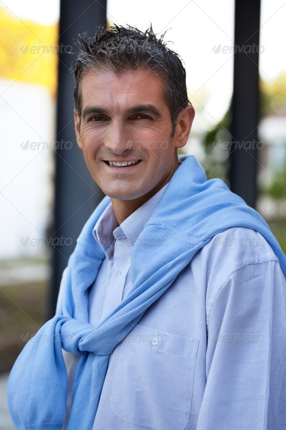 Handsome Man Smiling - Stock Photo - Images